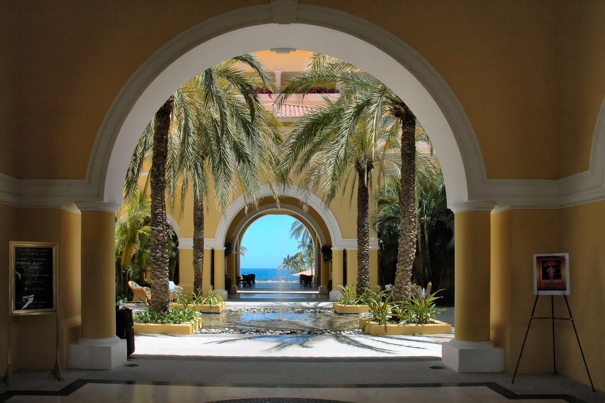 View through colonial arches to the ocean