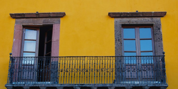 A colonial balcony and window in Mexico