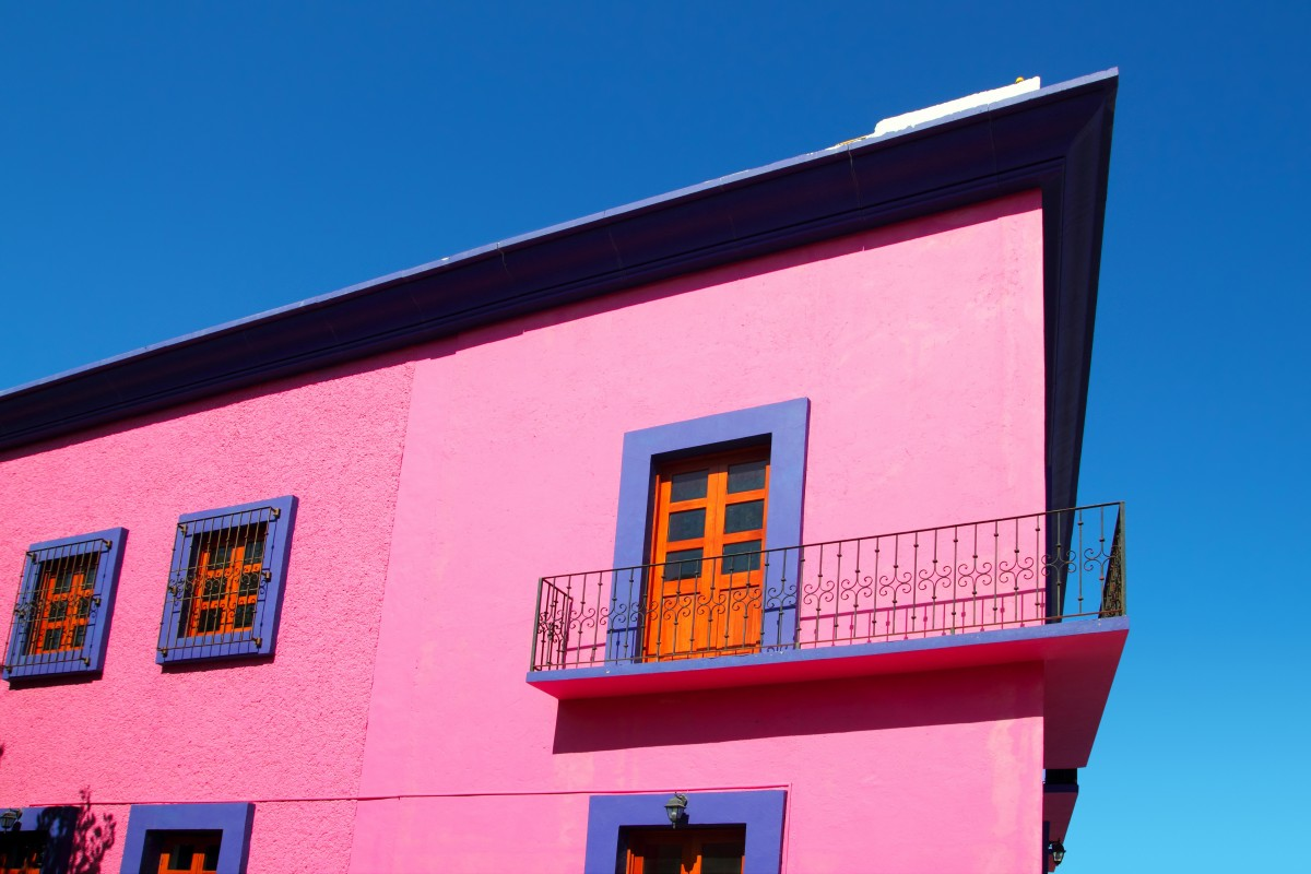 A colorful colonial house in Mexico