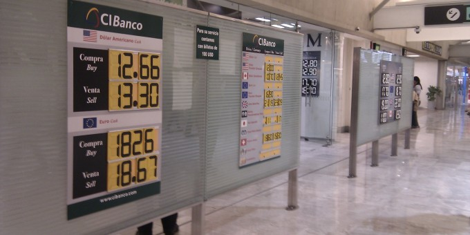 Currency Exchange Booths At Mexico City S Airport