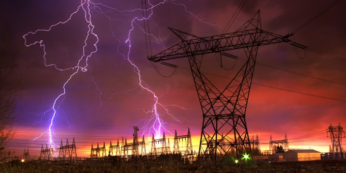 Lightning strikes power distribution station