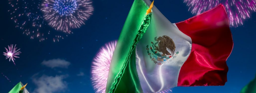 Flags and Fireworks in Mexico