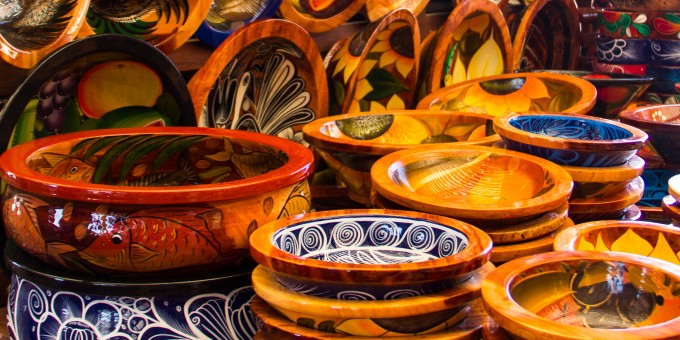 Hand made pottery being offered for sale