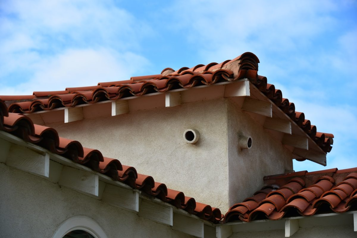 Roof tiles on a home
