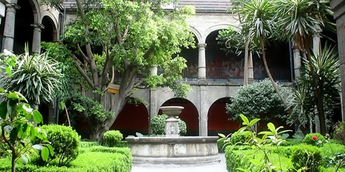 Courtyard of the Hospital de Jesus in Mexico