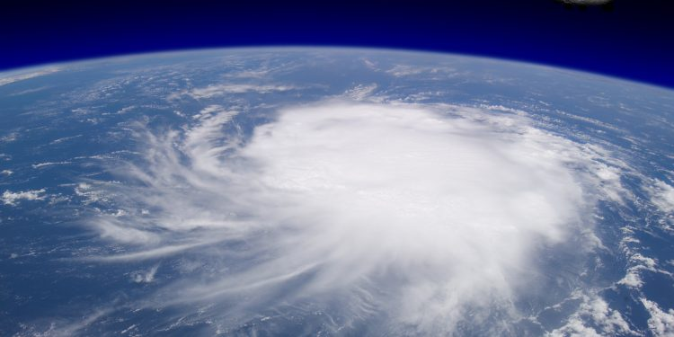 Hurricane Over Ocean, Viewed from Space (Concept)