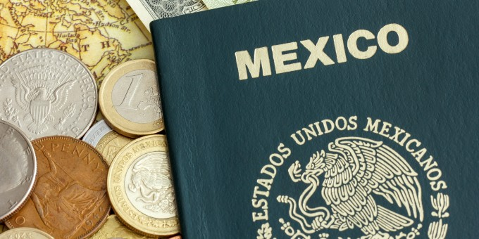 Mexican Passport with foreign currency