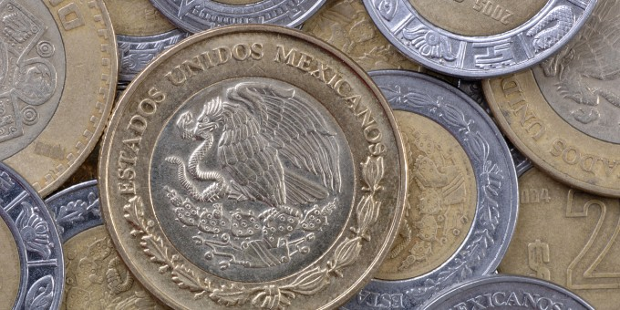 Pile of Mexican Peso coins