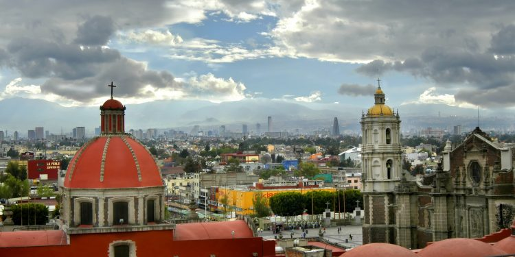 Mexico City Skyline and Churches
