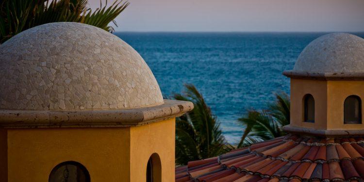 Rooftops overlooking ocean front property