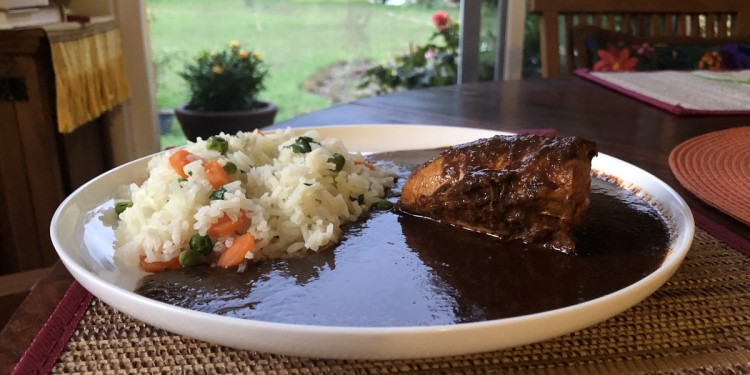 Chicken rice and mole sauce in Mexico