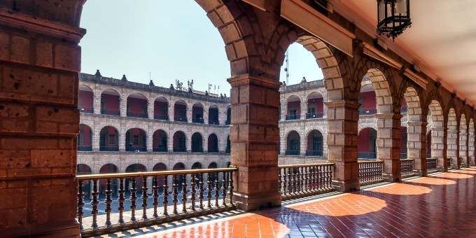 Corridor of Mexico's National Palace overlooking the central courtyard