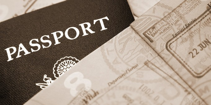 Passport with immigration entry stamps