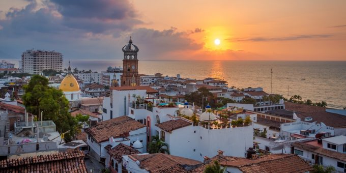 Puerto Vallarta Rooftops at Sunset