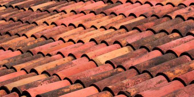 Roof top tiles covering house