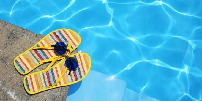 Shoes by the swimming pool