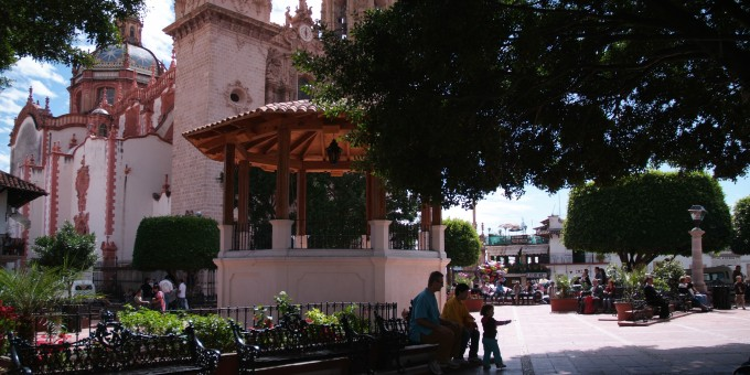 Downtown in Taxco, the Zocalo and Church