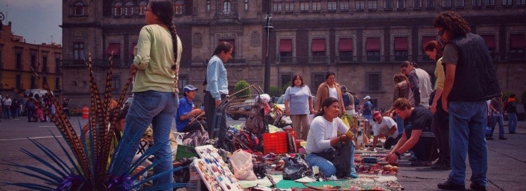 Traders in Mexico City's main square. Zocalo