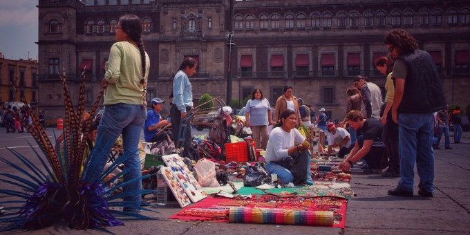 Traders in Mexico City's main square. Zocalo