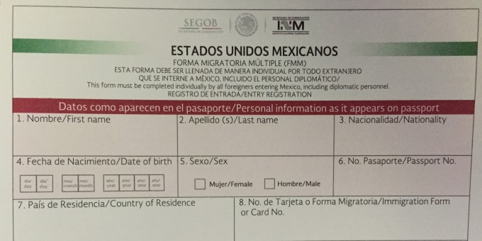 Forma Migratoria Multiple (FMM) Visitor's Permit Mexico