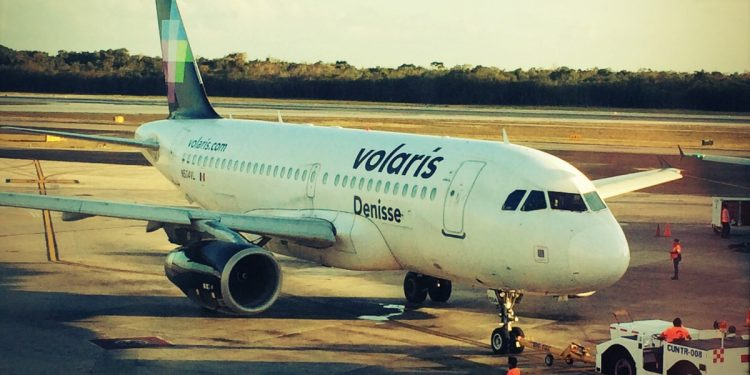 Volaris Airplane on tarmac in Mexico City
